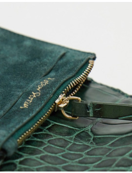 & Other Stories Croc Effect Leather Coin Purse In Bottle Green by & Other Stories