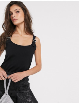 & Other Stories Diamante Buckle Detail Cami In Black by & Other Stories