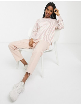 Monki Striped Long Sleeve Top In Pink And White by Monki