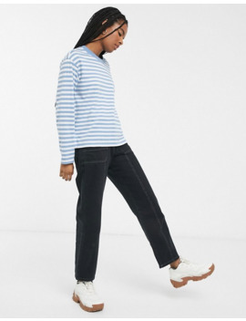 Monki Striped Long Sleeve Top In Blue And White by Monki