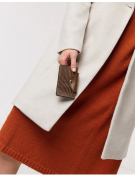 & Other Stories Lizard Effect Leather Cardholder In Copper by & Other Stories