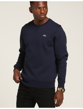 Lacoste Basic Crew Neck Sweatshirt Navy by Lacoste