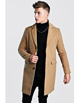 Single Breasted Wool Look Overcoat by Boohoo