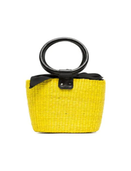 Yellow And Black Basket Mini Straw Bag by Sensi Studio