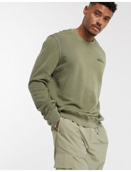 Bershka Sweatshirt With Chest Slogan In Khaki by Bershka's