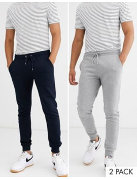 Asos Design Skinny Joggers 2 Pack In Grey Marl/Navy by Asos Design