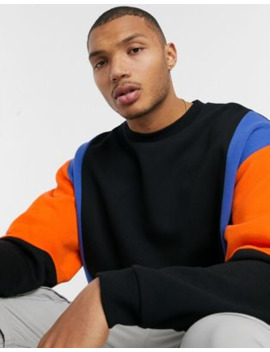 Asos Design Oversized Sweatshirt With Vertical Colour Blocking In Black &Amp; Bright Blue/ Orange by Asos Design