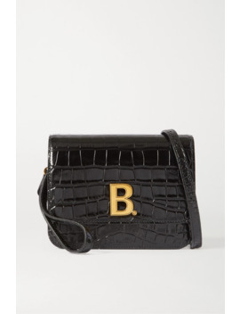 B Small Croc Effect Leather Shoulder Bag by Balenciaga