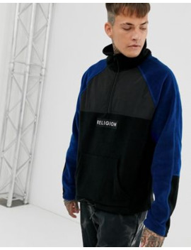 Religion Half Zip Sweat With Fleece Panel Details In Blue/Black by Religion