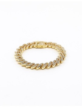 "Saint Morta Interlink Bracelet 10"" Iced Gold by Saint Morta"