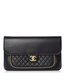 Chanel Lambskin Quilted Cc Unchained Clutch Black by Chanel