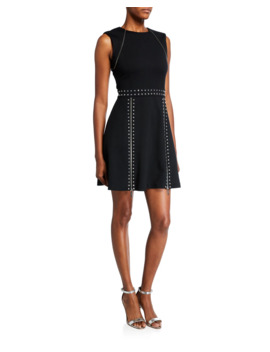 Sleeveless Pyramid Studded Mini Dress W/ Zipper Details by Michael Michael Kors