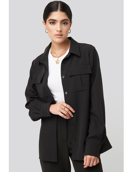 Straight Fitted Overshirt Zwart by Nakdclassic