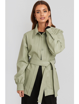 Balloon Sleeve Tied Waist Pu Jacket Groen by Na Kd Trend
