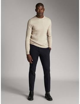 Navy Blue Cotton Slim Fit Trousers by Massimo Dutti