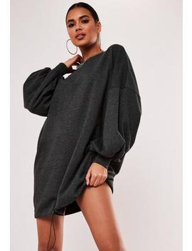 Dark Grey Toggle Hem Oversized Sweater Dress by Missguided