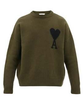 Ami De Cœur Intarsia Oversized Wool Sweater by Ami