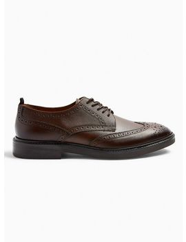 Tan Real Leather Venice Brogue Shoes by Topman
