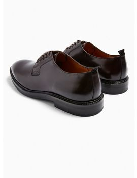 Burgundy Real Leather Venice Derby Shoes by Topman