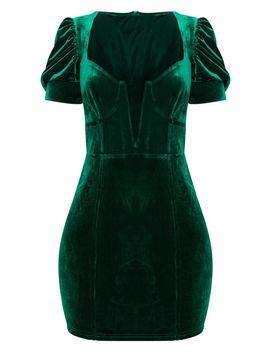 Emerald Green Velvet Deep Plunge Puff Sleeve Bodycon Dress by Prettylittlething