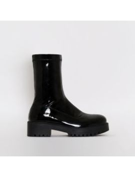 Tae Black Patent Stretch Flat Ankle Boots by Simmigirl