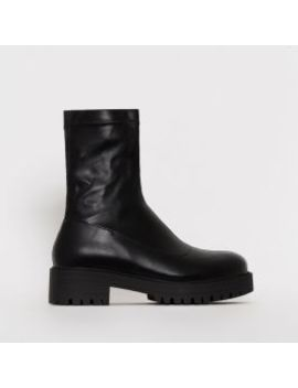 Tae Black Stretch Flat Ankle Boots by Simmigirl