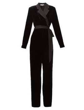 Monica Notched Lapel Velvet Wrap Wide Leg Jumpsuit by Diane Von Furstenberg