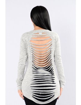 Stabbed In The Back Top   Grey by Fashion Nova