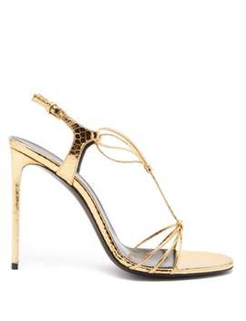 Robin Metallic Leather Slingback Sandals by Saint Laurent
