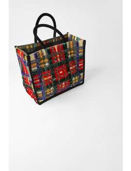 Mehrfarbiger Shopper Aus Canvas Und Samt by Zara