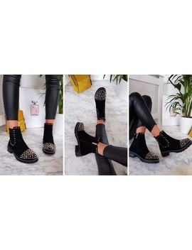 Sasha Studded Ankle Boots In Black Suede by Ikrush