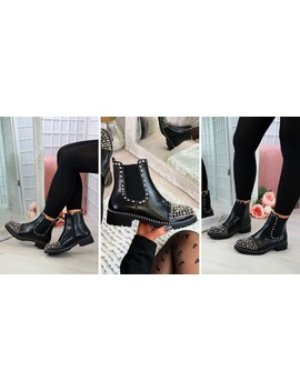 Black Silver Studs Chelsea Ankle Boots by Larena Fashion
