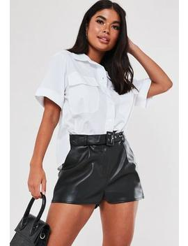 Petite Black Faux Leather Belted Shorts by Missguided