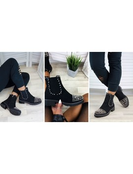 Black Suede Silver Studs Chelsea Ankle Boots by Larena Fashion