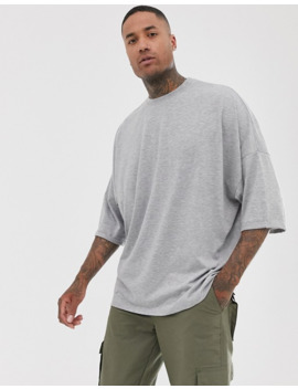 Asos Design Extreme Oversized Longline T Shirt With Roll Sleeve In Grey by Asos Design