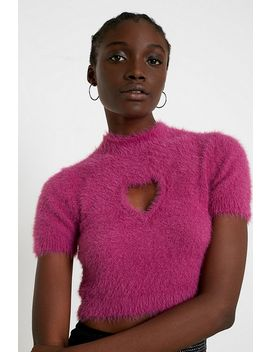 Uo Fluffy Heart Cut Out Pink Top by Urban Outfitters