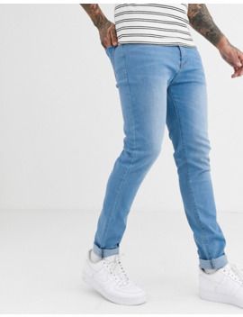 Liquor N Poker – Enge Jeans Aus Recyceltem Material In Blau by Asos