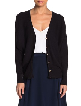 Front Button Rib Knit Cardigan (Petite) by T Tahari