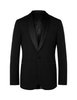 Black Slim Fit Shawl Collar Faille Trimmed Virgin Wool Tuxedo Jacket by Mr P.