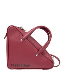 Ladies Flat Crossbody Bag Triangle Burgundy Tria Duffle Xs Chain by Balenciaga