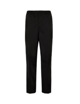 Black Slim Fit Grosgrain Trimmed Wool Drawstring Tuxedo Trousers by Mr P.