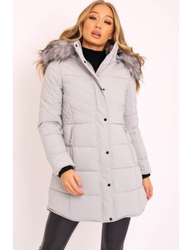 Grey Adjustable Back Long Puffer Coat   Maezie by Rebellious Fashion