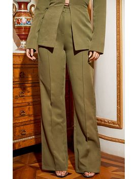 Khaki Wide Leg High Waist Trouser by Prettylittlething
