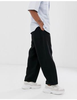 Pantalones De Vestir Y Pernera Ancha 100% Lana En Negro De Asos White by Asos White