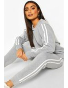 Fleece Side Stripe Tracksuit Set Fleece Side Stripe Tracksuit Set by Boohoo