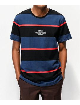 Huf Mazon Blue & Black Striped Knit T Shirt by Huf