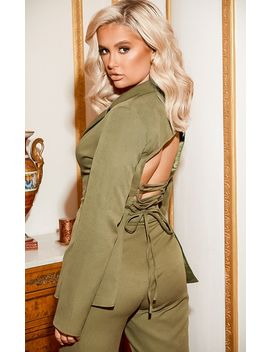 Khaki Fitted Lace Up Back Blazer  by Prettylittlething