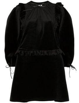 Pouf Sleeve Velvet Mini Dress by Shushu/Tong