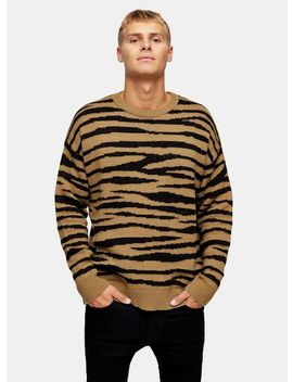 Brown Brushed Tiger Print Jumper by Topman
