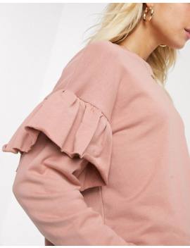 Pull&Bear Frill Sleeve Top In Pink by Pull&Bear